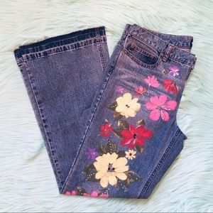 Express Painted Beaded Floral Wide Leg Flare Jeans
